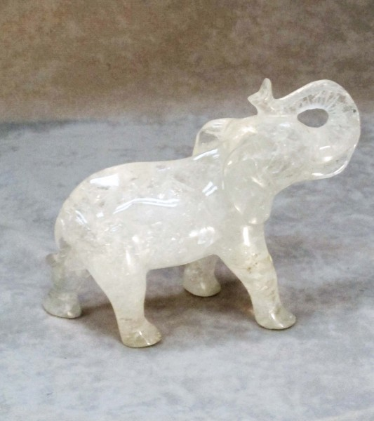 Quartz crystal carved elephant