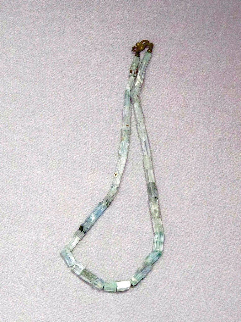 wearing crystals aquamarine necklace