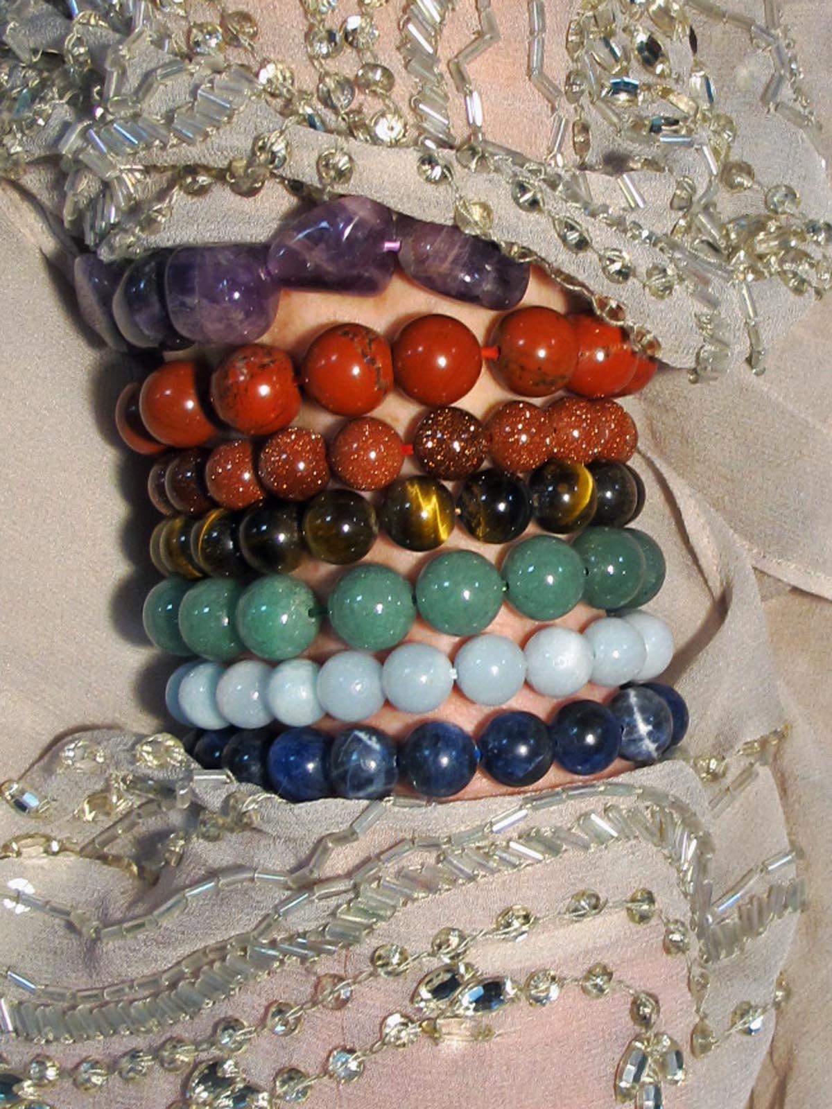 wearing crystals chakra bracelet set