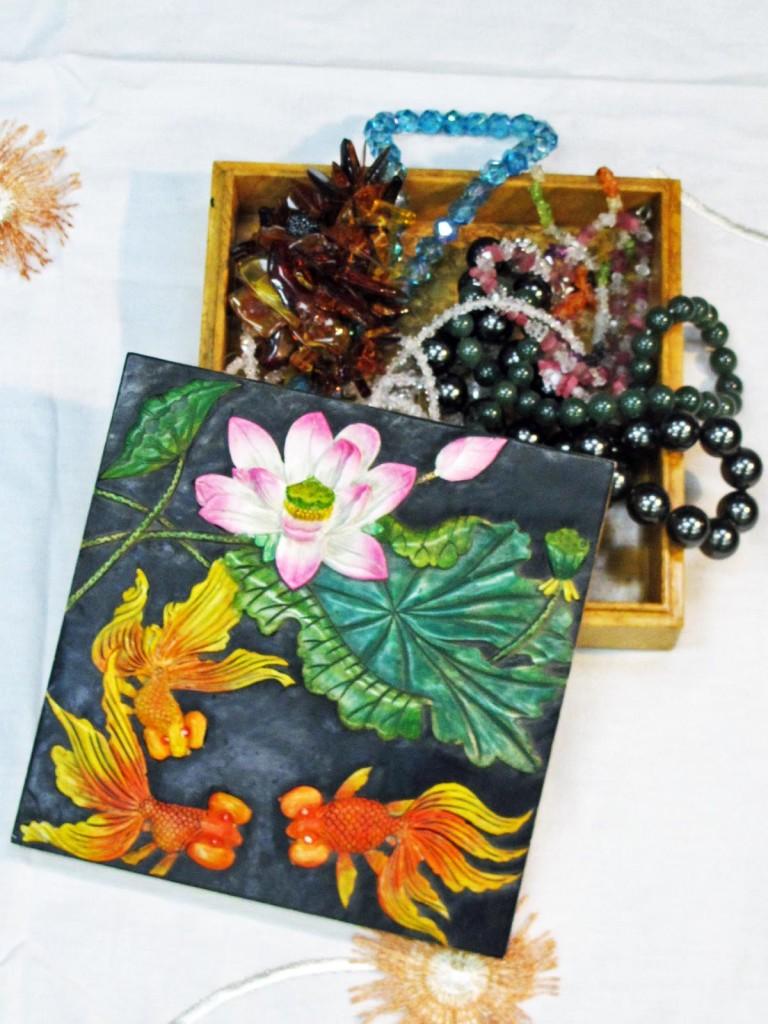 fish and lily trinket box