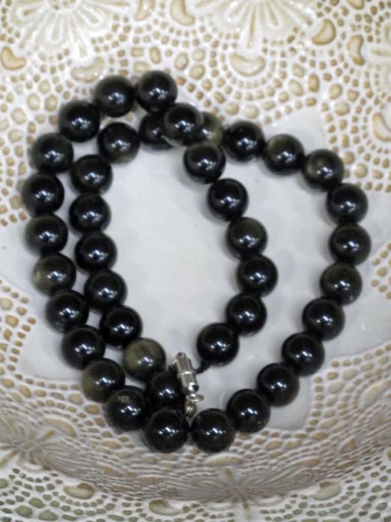 gold sheen obsidian beads