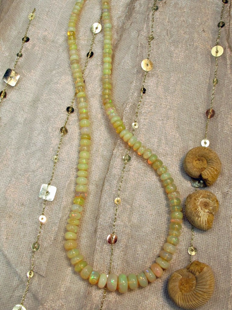 opal necklace with ammonites
