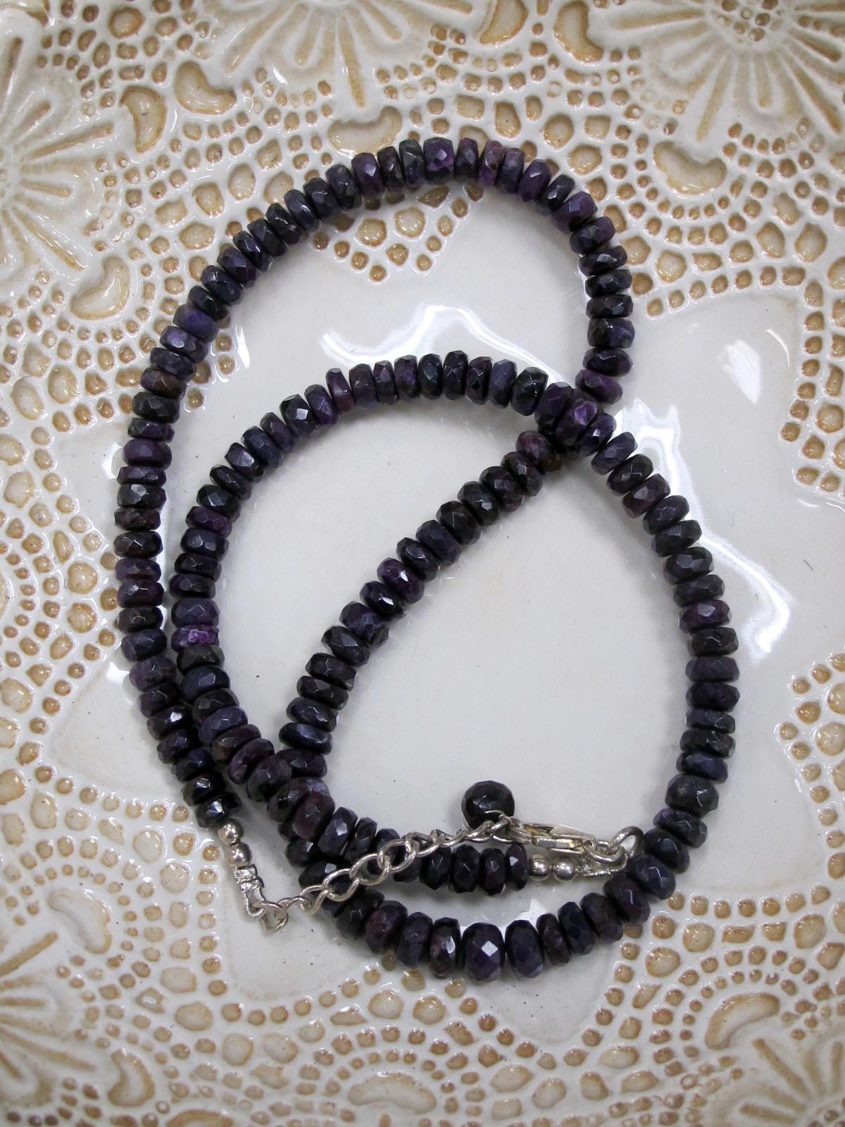 wearing crystals Sugilite bead necklace