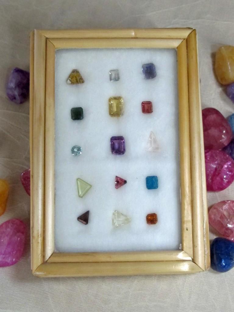 set of faceted gemstones
