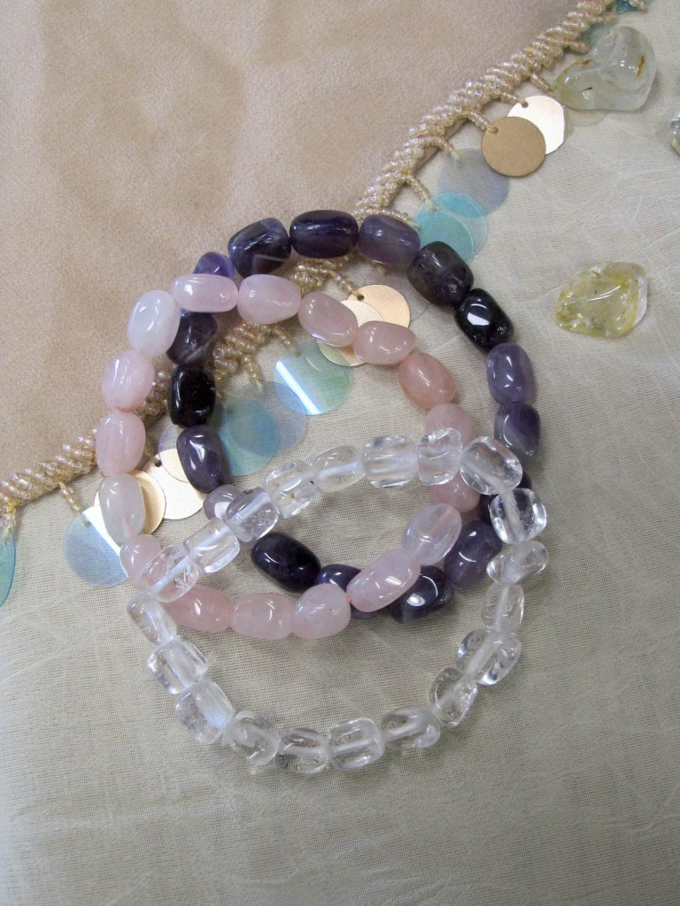set of quartz and amethyst bracelets