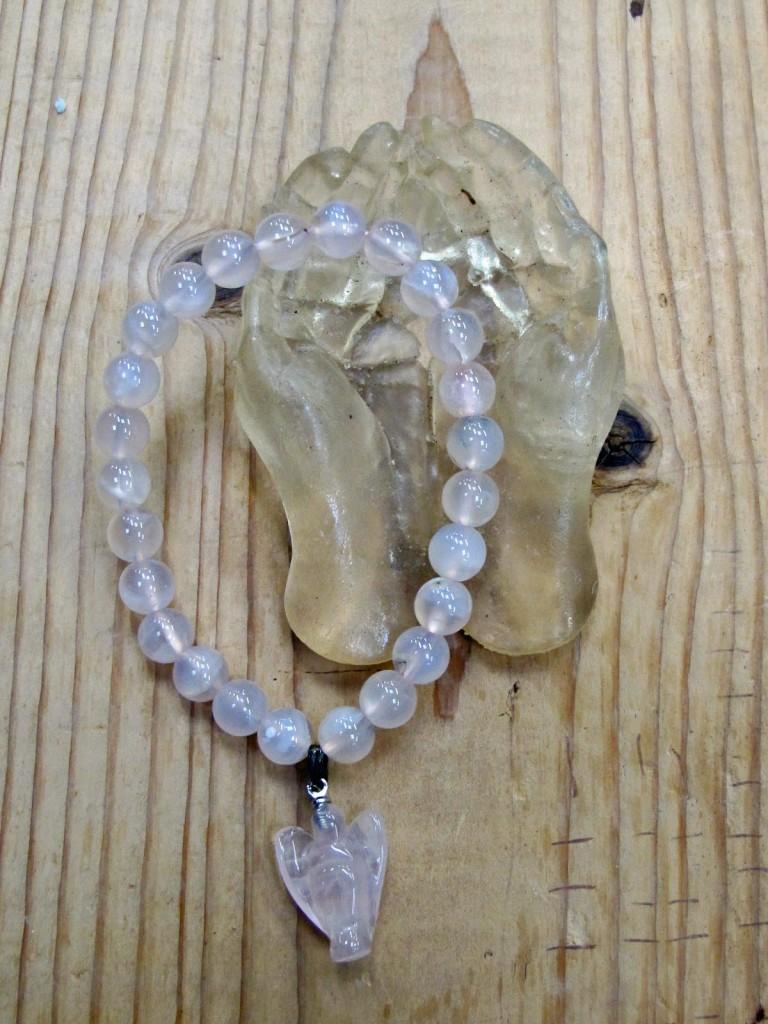 rose quartz and angel bracelet with healing hands