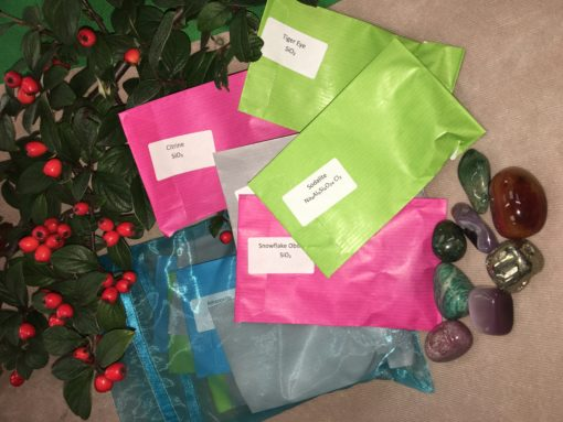 Advent Crystal Gemstones with labels