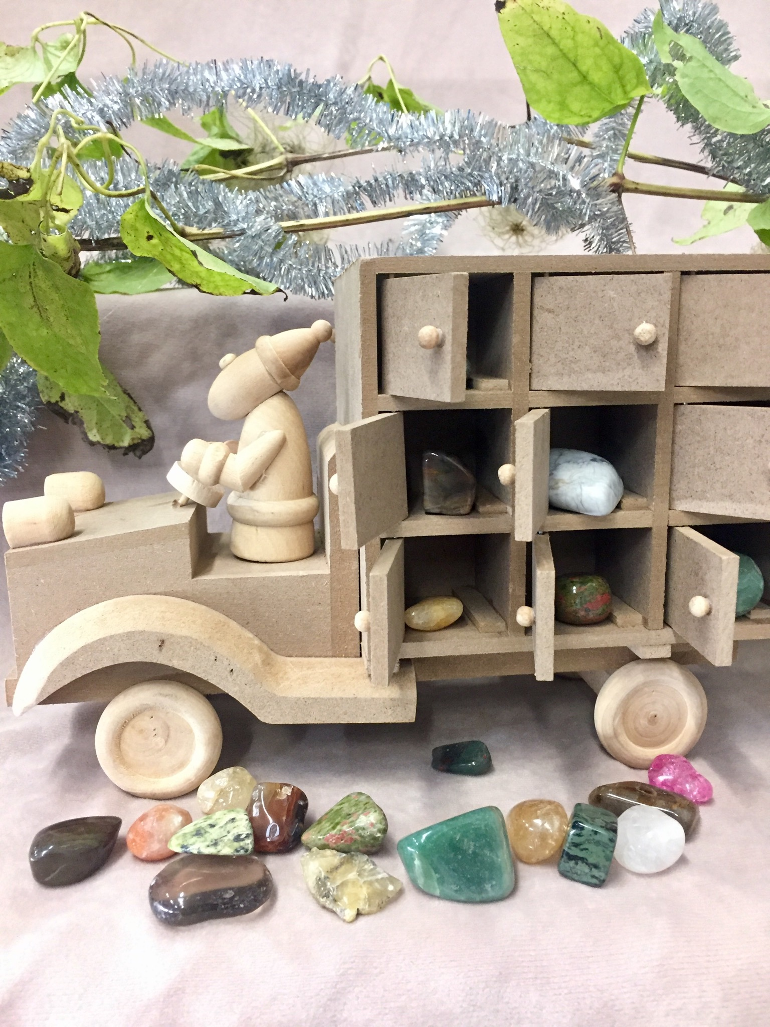 Gemstone Advent Calendar, Santa Truck, close up