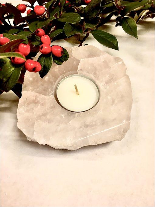 Polished Rose Quartz Crystal Tea Light Holder