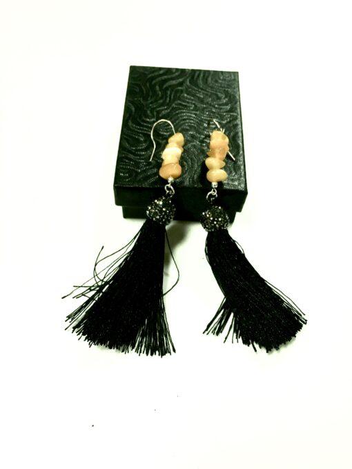 Amber Earrings Silk Tassle