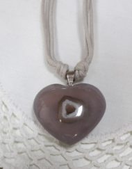 Natural Smokey Quartz Heart with Druzy Hollow Pendant