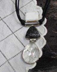 Quartz, marble and tourmanline triple drop pendant